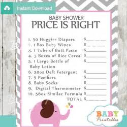 106 pink grey elephant baby shower games price is right
