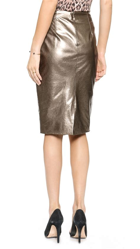 misha nonoo metallic leather pencil skirt mercury in