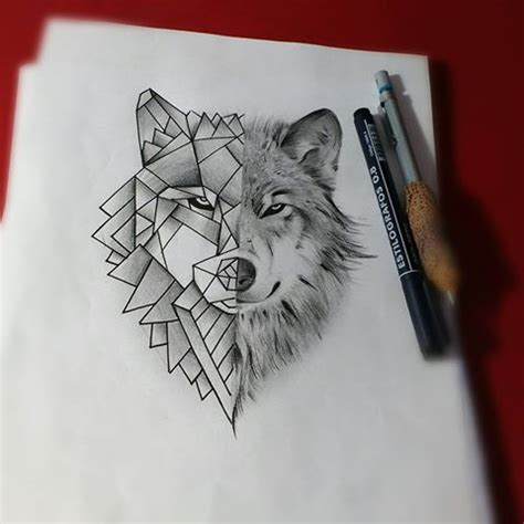 wolf tattoo half geometric unique grey pencil half geometric wolf tattoo design