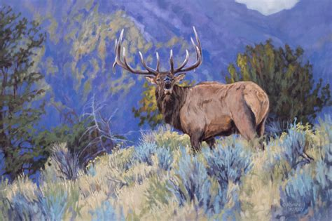 kirby original elk painting quot the defender quot by kirby