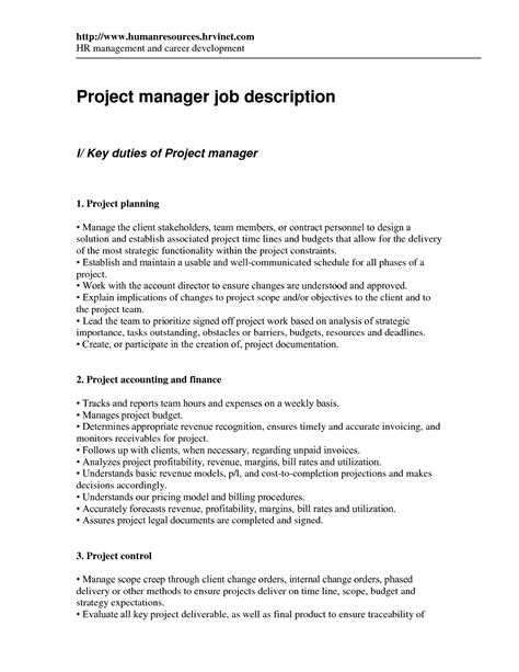 project coordinator description template financial analyst description responsibilities simple
