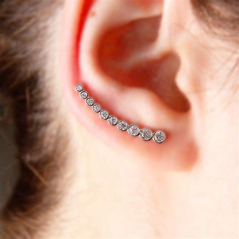 ear climber earrings sterling silver round cz ear climber earrings sgme00008rh