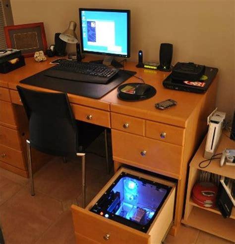 Computer Built Into A Desk Drawer Geek Pinterest Computer Built In Desk