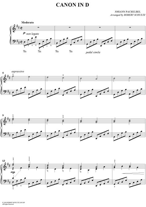 printable piano sheet music canon in d canon in d standard edition sheet music for piano and