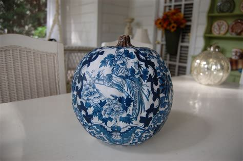 Decoupage Pumpkins - decoupage a pumpkin to coordinate with a room s design or