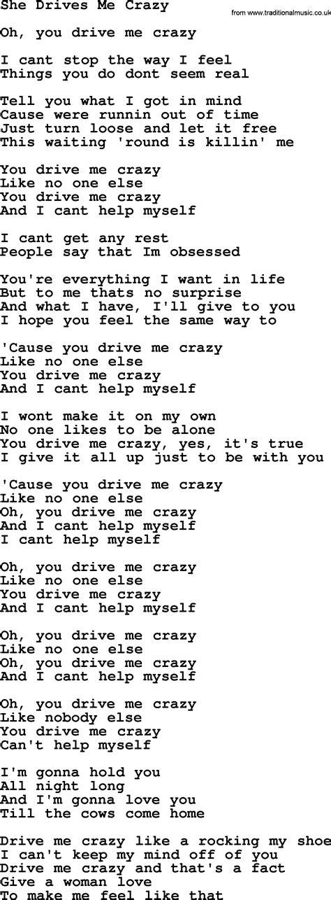 drive me crazy lyrics dolly parton song she drives me crazy lyrics