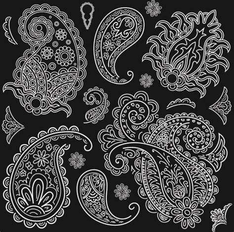 bandana pattern coreldraw set of black and white paisley pattern vector graphics