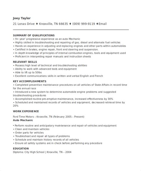 Mechanic Resume Template mechanic resume template 6 free word pdf document