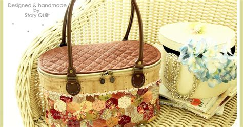 Patchwork Basket - welcome to story quilt hexagon patchwork basket bag