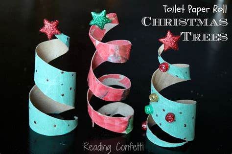 christmas crafts with toilet rolls toilet paper roll trees reading confetti
