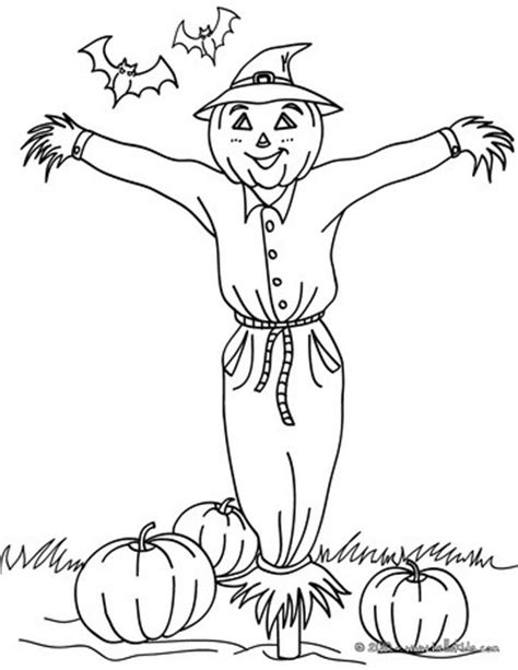 scarecrow in pumpkin patch coloring pages hellokids com