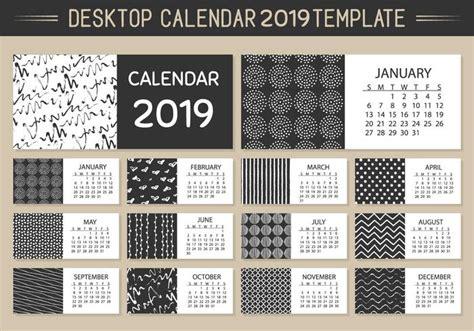 desktop calendar templates monthly desktop calendar 2019 vector template