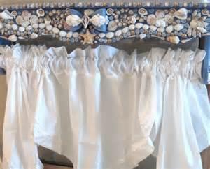 seashell curtains valances shabby chic window valance or bed canopy with seashells