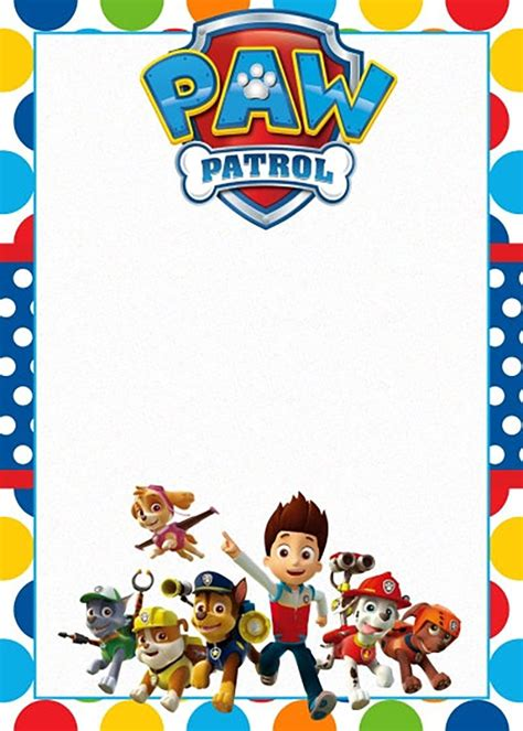 paw patrol birthday card template free free printable paw patrol invitation template free