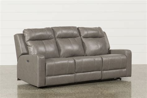 living spaces recliner sofa sequoia sable dual power reclining sofa w adjustable