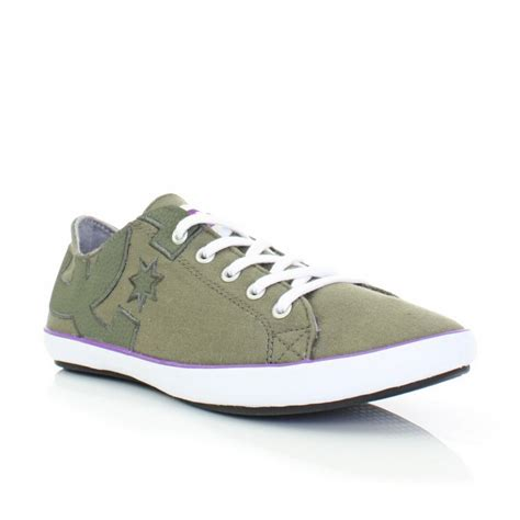 dc flat shoes womens dc shoes cleo green lace up casual flat