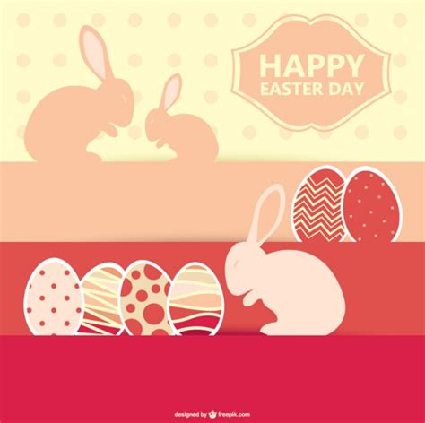 3d easter card templates happy easter day with bunnies and eggs vector free