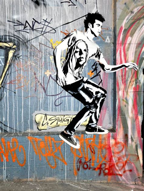 painted models blend seamlessly  graffiti background