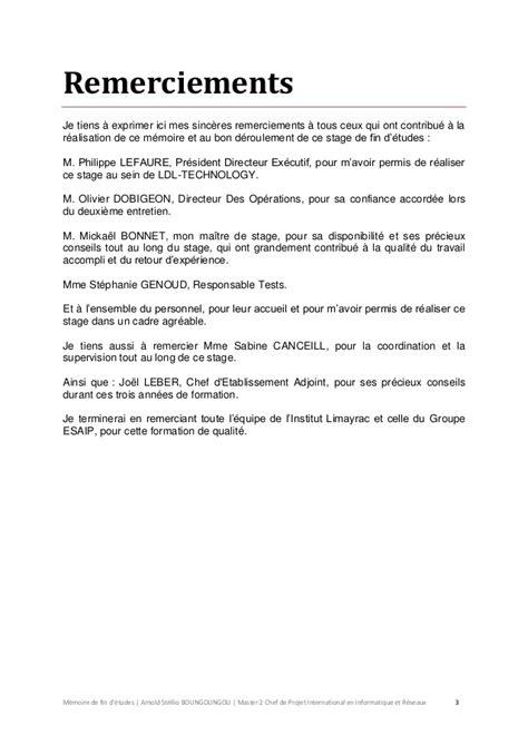 Exemple De Lettre De Remerciement Pour Mémoire Exemple De Remerciement Memoire