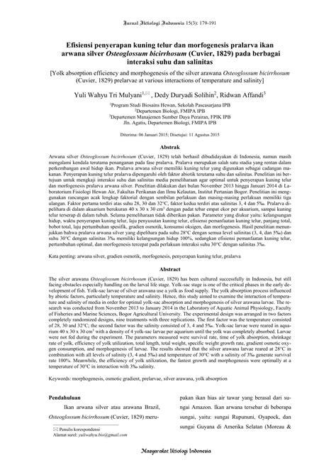 Efisiensi penyerapan kuning telur dan morfogenesis
