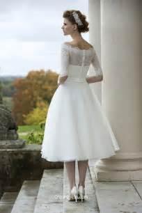 illusion lace half sleeve stylish tea length tulle wedding