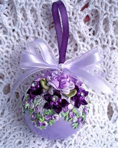 victorian christmas ornament lavender purple roses pearls