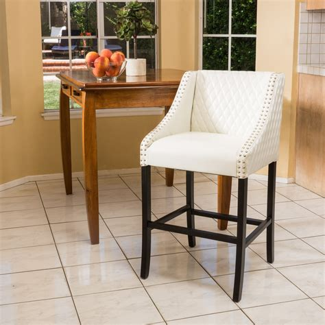 White Leather Counter Stools With Nailhead Trim by Furniture Organization White Quilted Leather Bar Stools