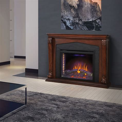 Walnut Electric Fireplace by Electric Fireplace Mantel Package In Burnished