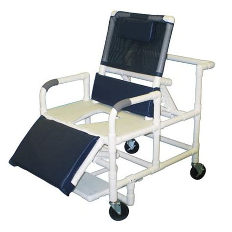 reclining shower chair with wheels mjm 26 quot w pvc bariatric reclining shower chair w full