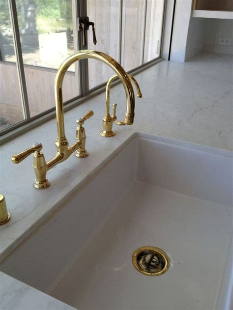 Unlacquered Brass Kitchen Faucet Our Barberwilsons Kitchen Faucet In Unlacquered Brass Patinafarm Idea For My Galley
