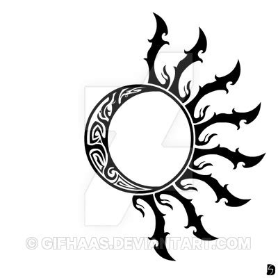 sun moon tribal tattoos tribal sun and moon halves by gifhaas on deviantart