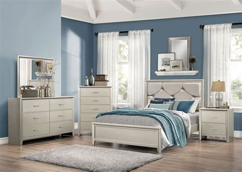 lana silver panel bedroom set  coaster furniture