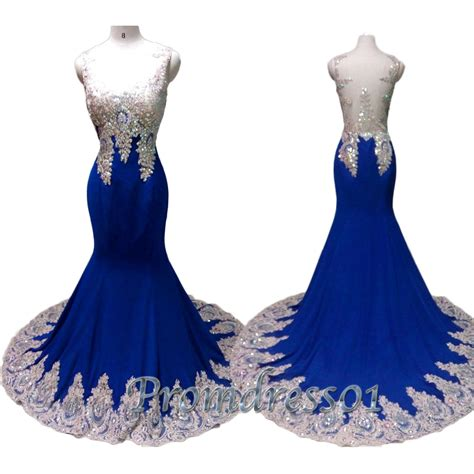 Handmade Prom Dresses - luxury navy blue lace handmade prom dress prom