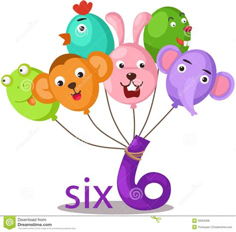Number 6 Character With Balloons Stock Vector Six Color Print L