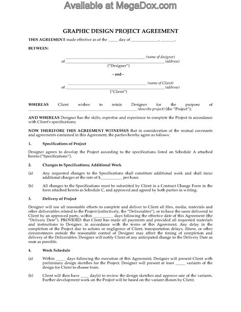 project partnership agreement template graphic design project agreement forms and