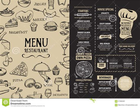 design menu cafe vector restaurant cafe menu template design food flyer stock