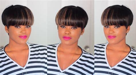 mushroom bowl cut quick weave for short hair youtube diy quick easy faux mushroom bowl cut wig youtube