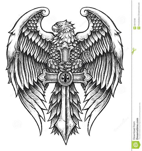 highly detailed eagle with sword stock vector image