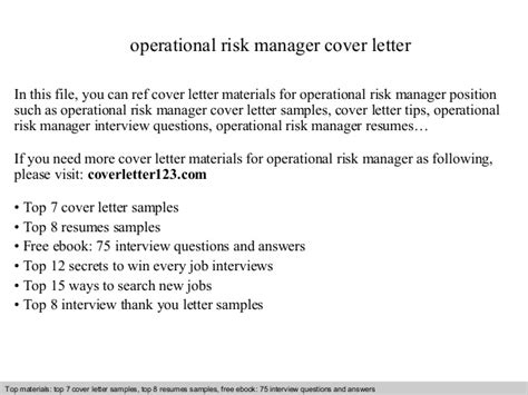 Risk Officer Cover Letter by Operational Risk Manager Cover Letter