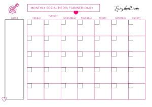 social media printable weekly goals planner and monthly