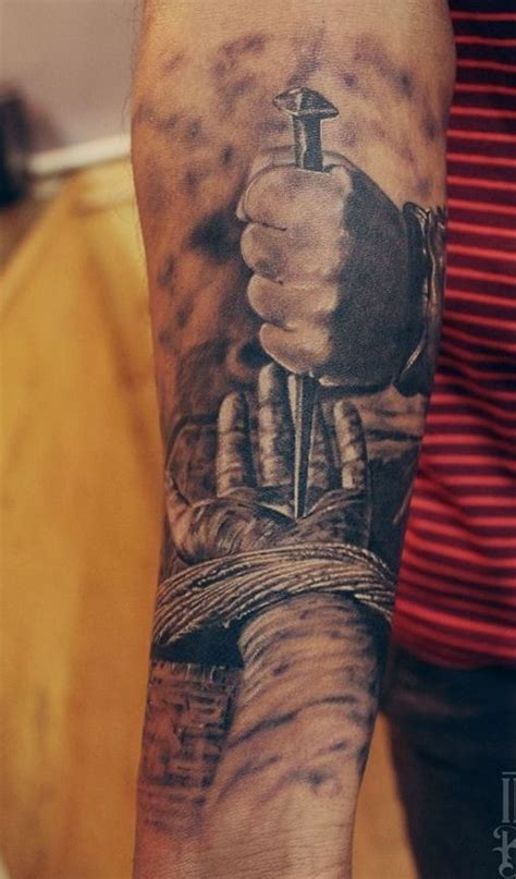 jesus hands tattoo amazing of jesus nailed forearm tattooimages biz