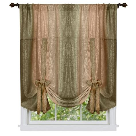 Tie Up Curtains Achim Ombre Earth Polyester Tie Up Shade Curtain 50 In W X 63 In L Omtu63er06 The Home Depot