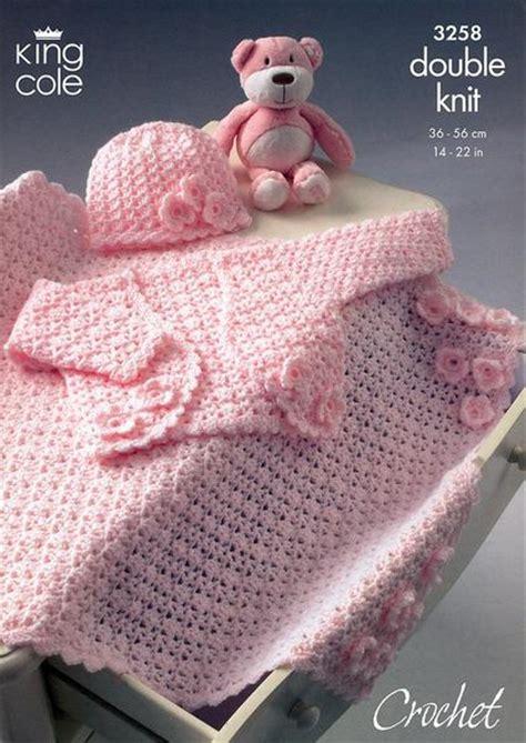 king cole free knitting patterns bolero hat pram blanket in king cole dk 3258 deramores