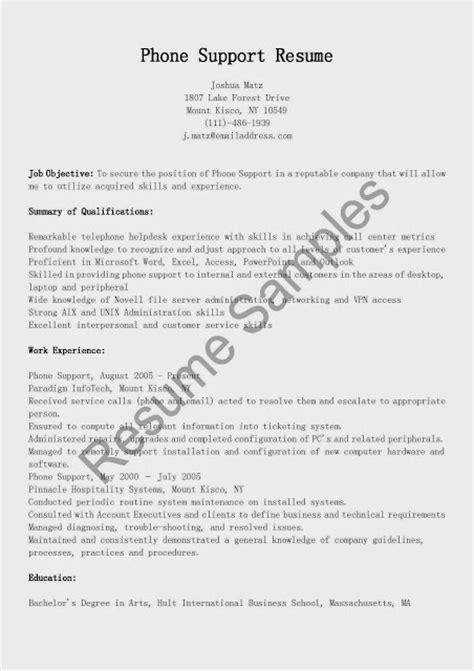 great sle resume phone support resume sle