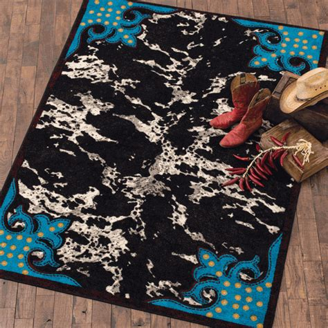 turquoise cowhide rug southwest rugs 8 x 11 turquoise cowhide rug lone western decor