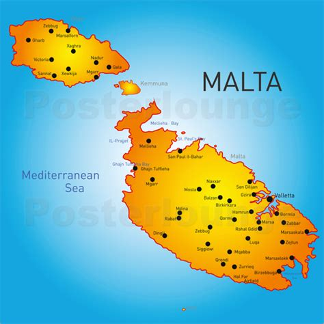 map of malta malta map poster posterlounge