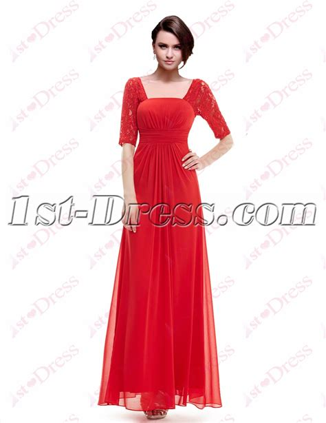 long red promotion dress simple red lace graduation party dress with 1 2 long