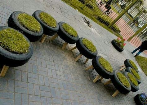 Using Tires As Planters used tire planters gardening
