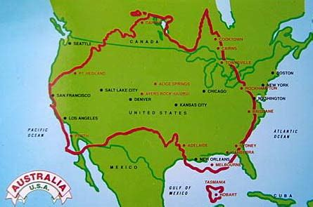 us map superimposed on europe comparing the size of australia to usa and europe