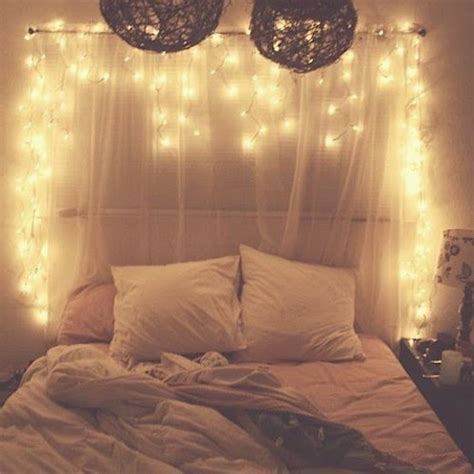 Cute Pinterest Fairy Lights Headboard Lights Bed
